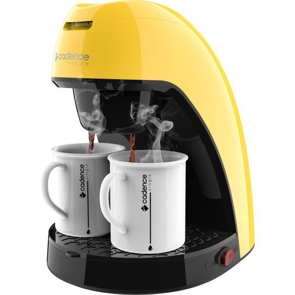 cafeteira colorida cadence single amarela caf214 1 design frontal