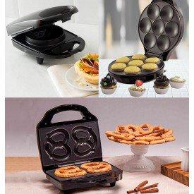 kit criativo com pretzel waffle e cupcake