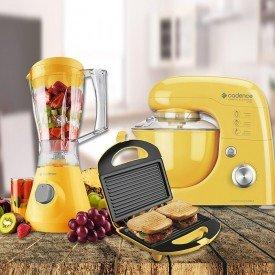 kit cozinha para recém casados colorida amarela