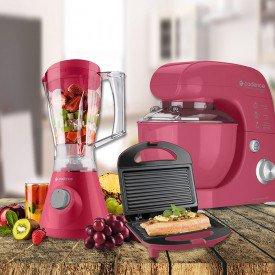 kit cozinha para recém casados colorida rosa