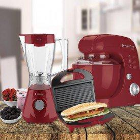 kit cozinha para recém casados colorida Vermelha